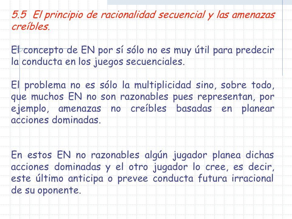 5.5 El principio de racionalidad secuencial y las amenazas creíbles.