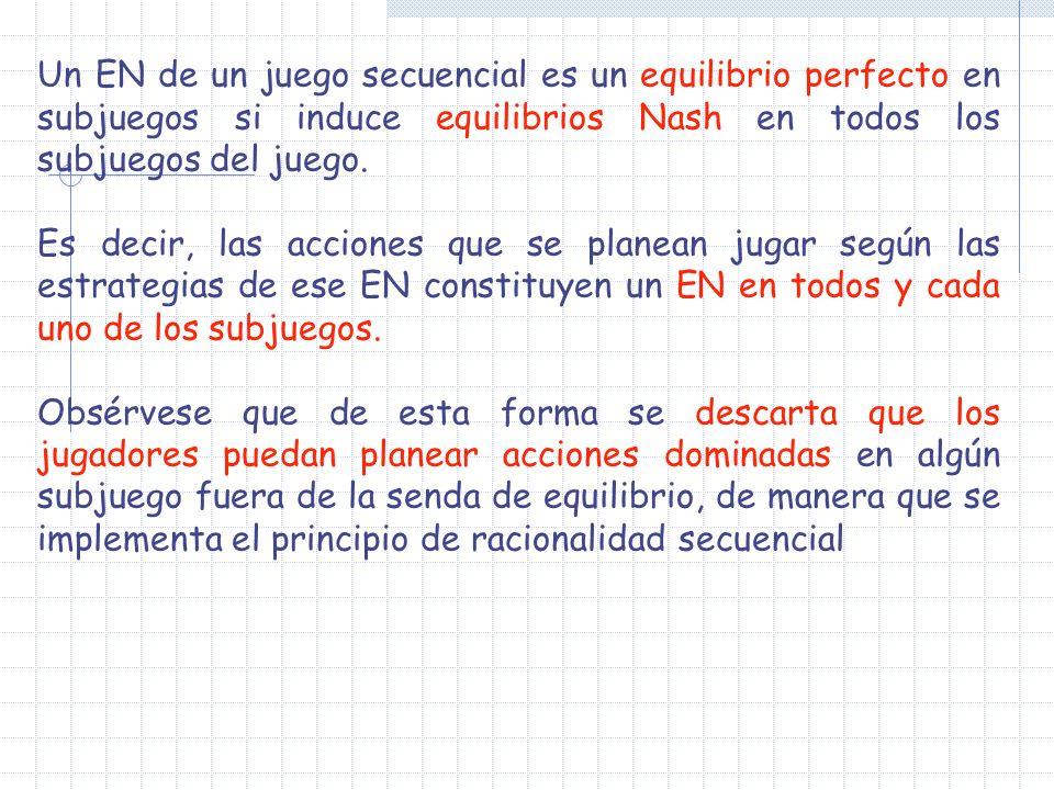 Un EN de un juego secuencial es un equilibrio perfecto en subjuegos si induce equilibrios Nash en todos los subjuegos del juego.