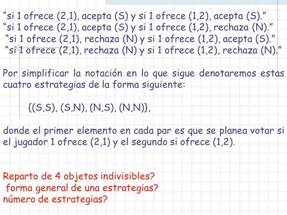 si 1 ofrece (2,1), rechaza (N) y si 1 ofrece (1,2), rechaza (N).