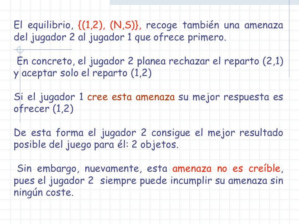 El equilibrio, {(1,2), (N,S)}, recoge también una amenaza del jugador 2 al jugador 1 que ofrece primero.