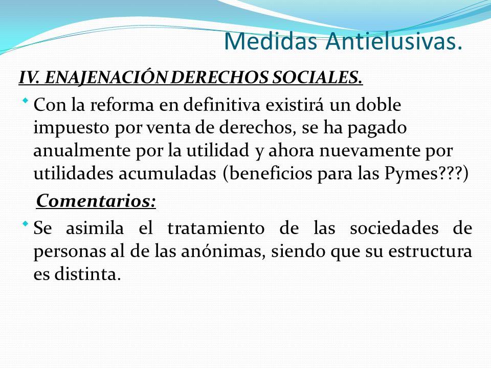 Medidas Antielusivas. IV. ENAJENACIÓN DERECHOS SOCIALES.