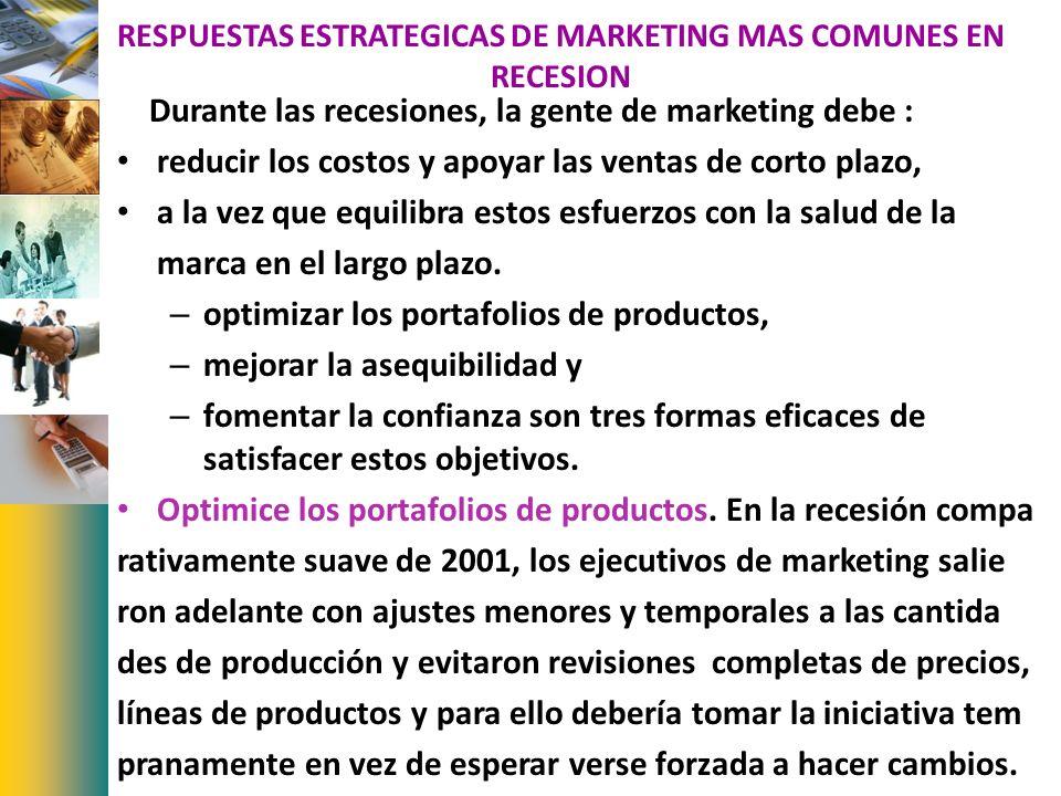 RESPUESTAS ESTRATEGICAS DE MARKETING MAS COMUNES EN RECESION