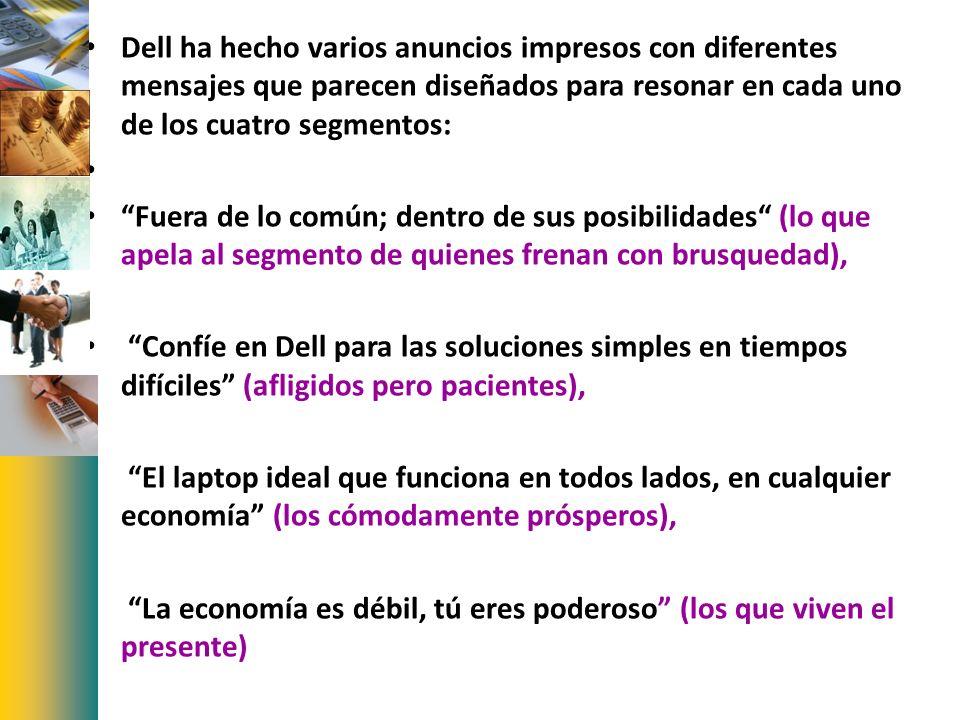 Dell ha hecho varios anuncios impresos con diferentes mensajes que parecen diseñados para resonar en cada uno de los cuatro segmentos: