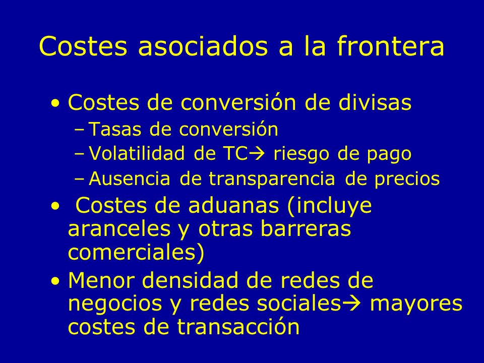 Costes asociados a la frontera