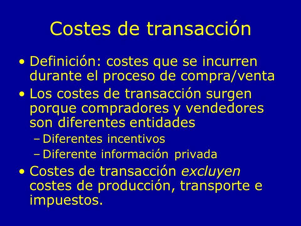 Costes de transacción Definición: costes que se incurren durante el proceso de compra/venta.