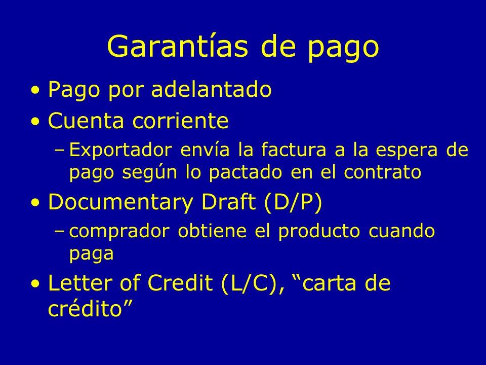 Garantías de pago Pago por adelantado Cuenta corriente