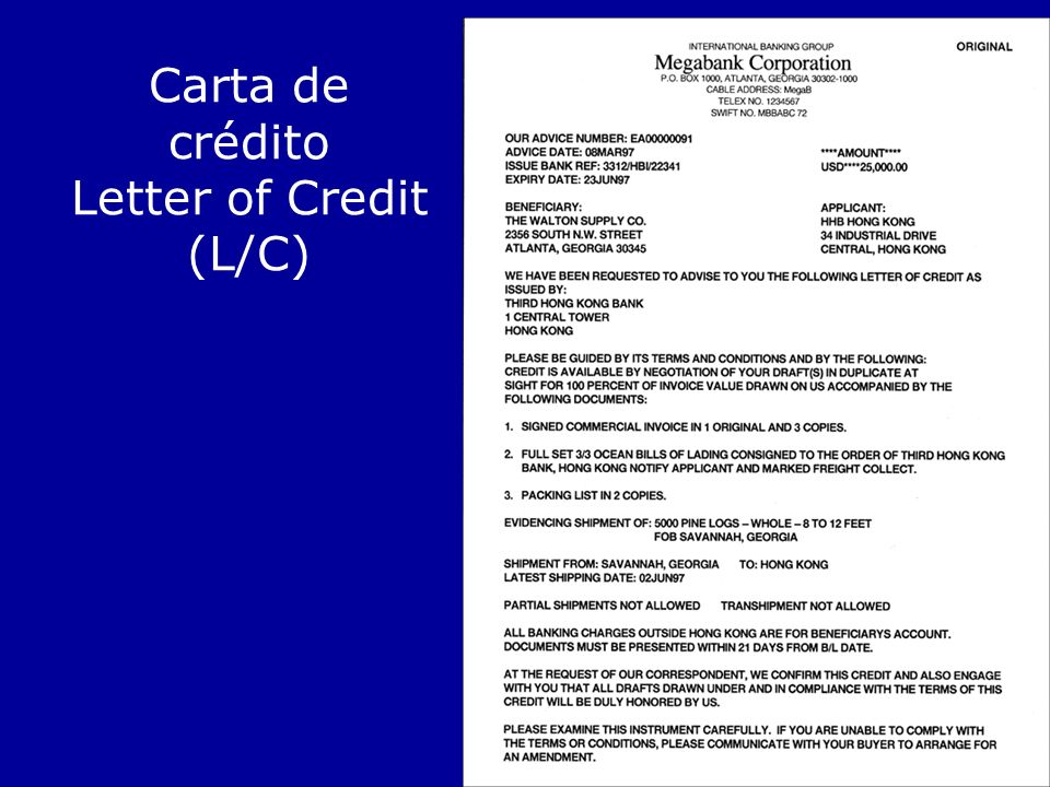 Carta de crédito Letter of Credit (L/C)