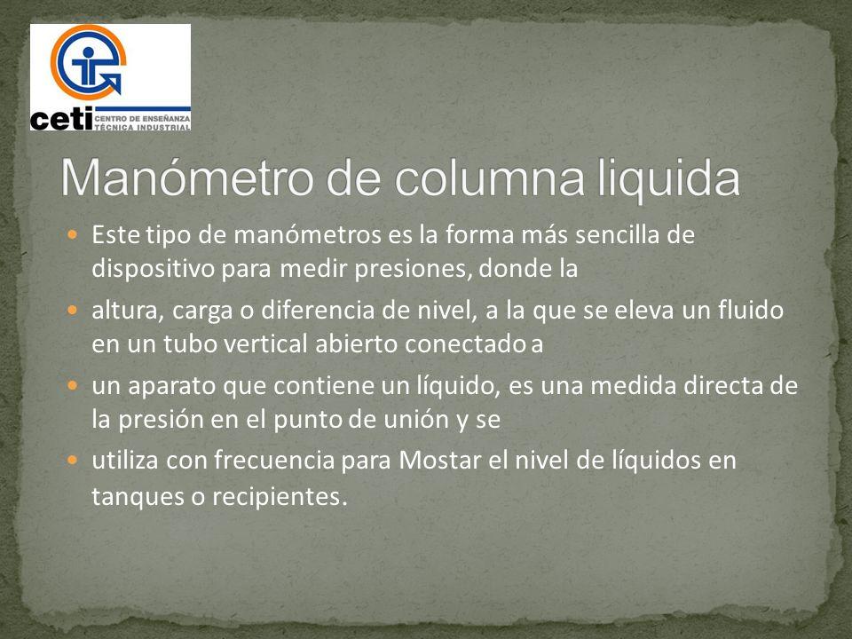 Manómetro de columna liquida
