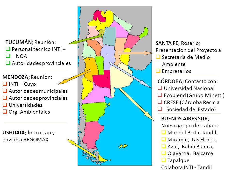 TUCUMÁN; Reunión: Personal técnico INTI – NOA. Autoridades provinciales. SANTA FE, Rosario; Presentación del Proyecto a:
