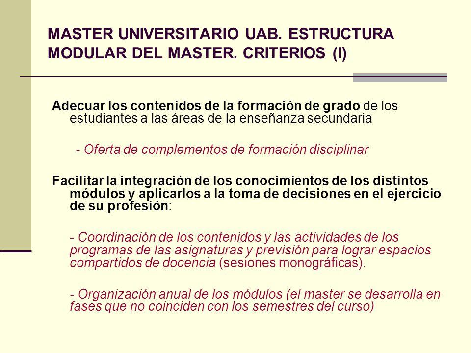 MASTER UNIVERSITARIO UAB. ESTRUCTURA MODULAR DEL MASTER. CRITERIOS (I)