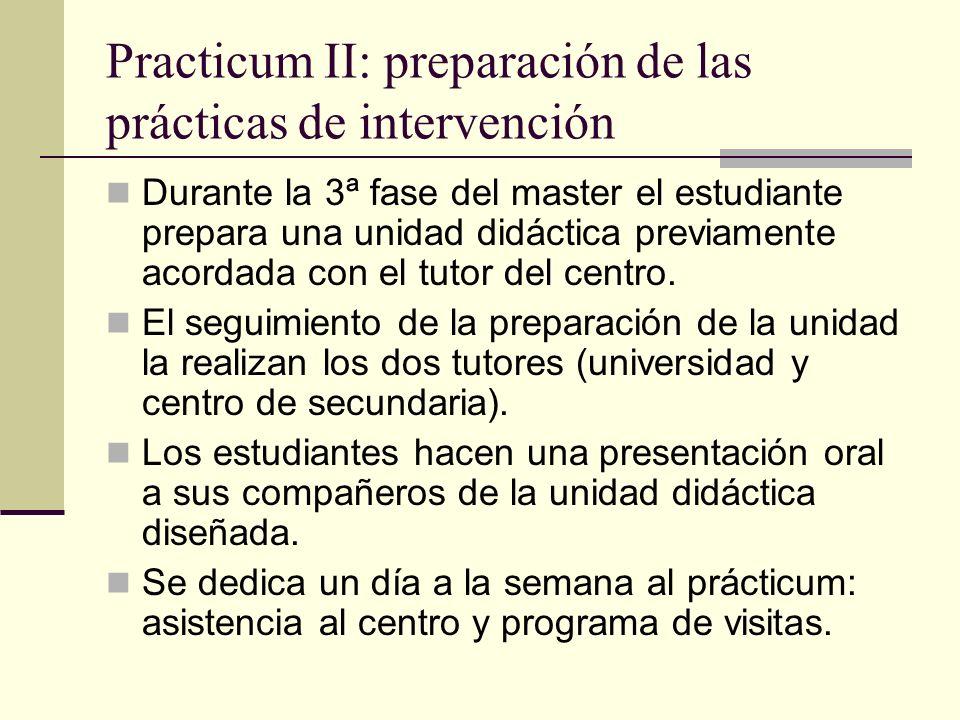 Practicum II: preparación de las prácticas de intervención