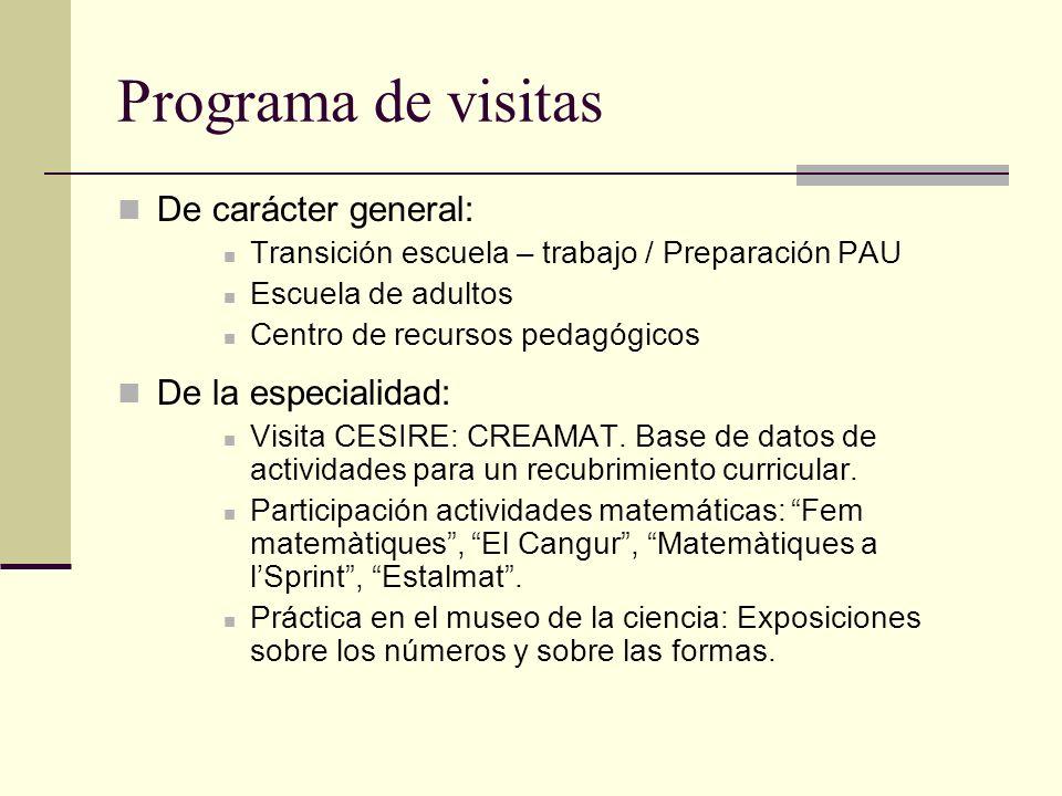 Programa de visitas De carácter general: De la especialidad: