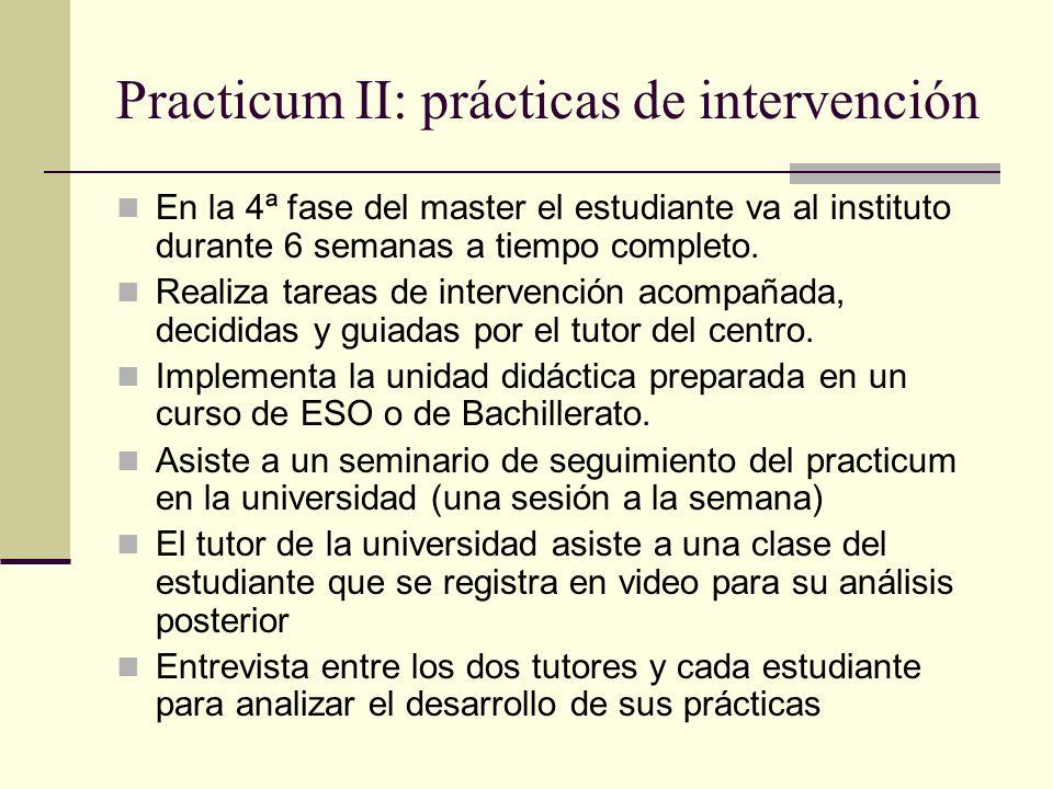 Practicum II: prácticas de intervención