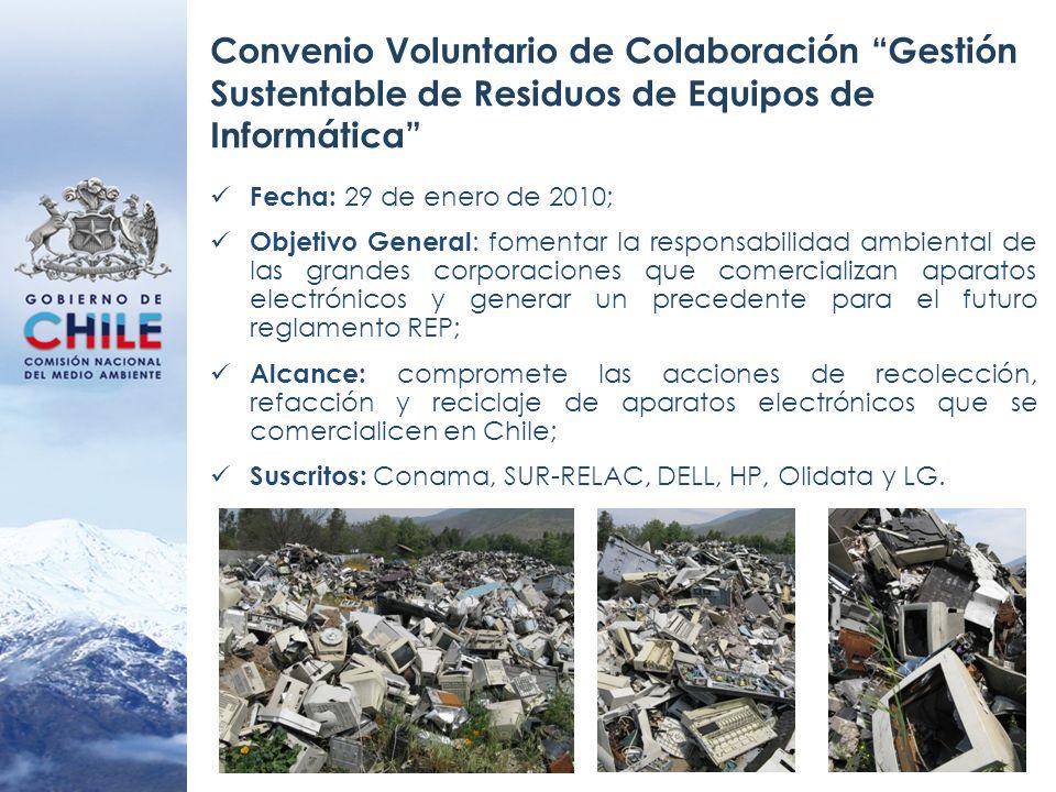 Convenio Voluntario de Colaboración Gestión Sustentable de Residuos de Equipos de Informática