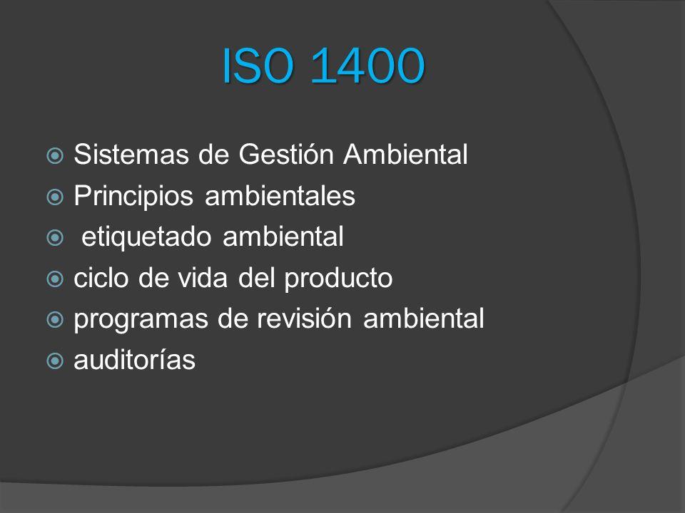 ISO 1400 Sistemas de Gestión Ambiental Principios ambientales