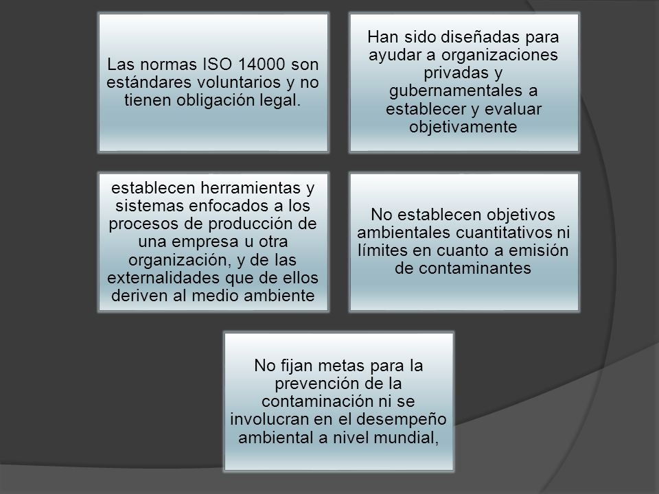 Las normas ISO 14000 son estándares voluntarios y no tienen obligación legal.