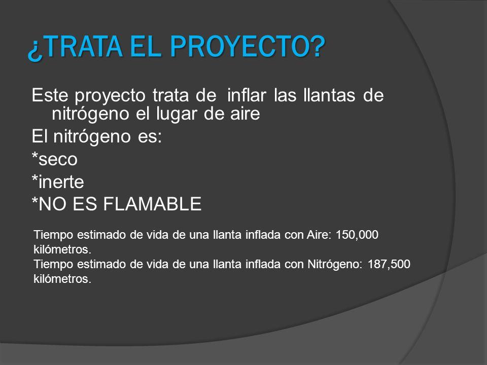 ¿TRATA EL PROYECTO Este proyecto trata de inflar las llantas de nitrógeno el lugar de aire El nitrógeno es: *seco *inerte *NO ES FLAMABLE
