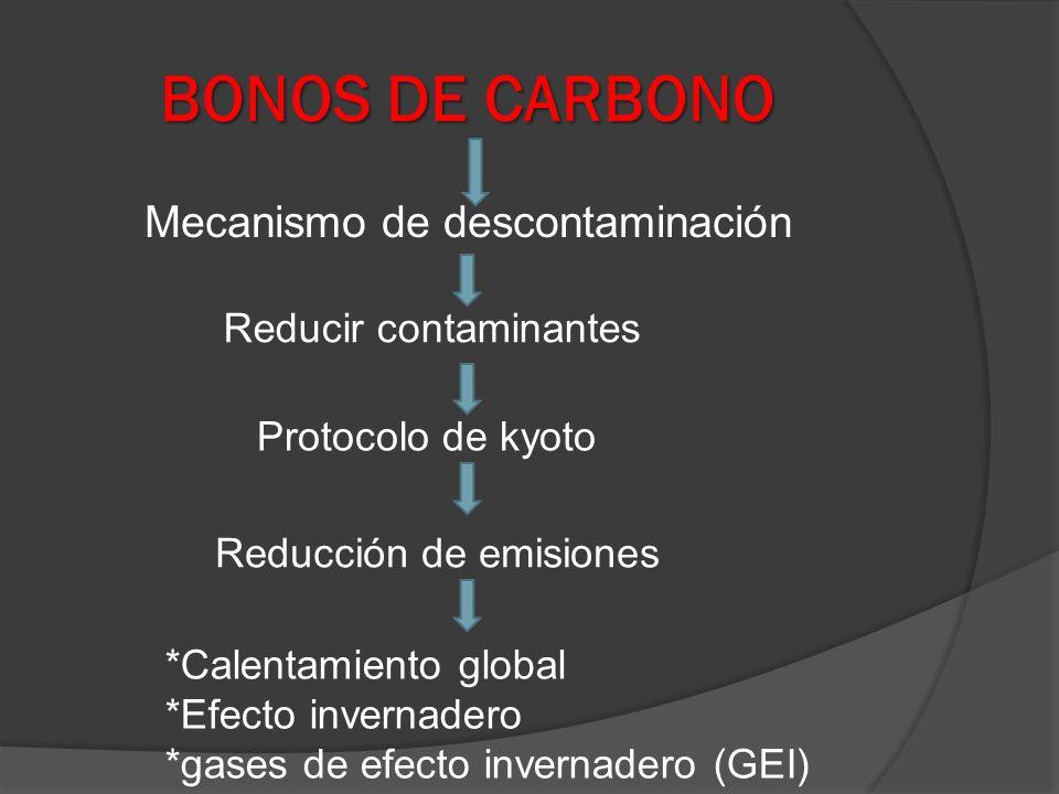 BONOS DE CARBONO Mecanismo de descontaminación Reducir contaminantes