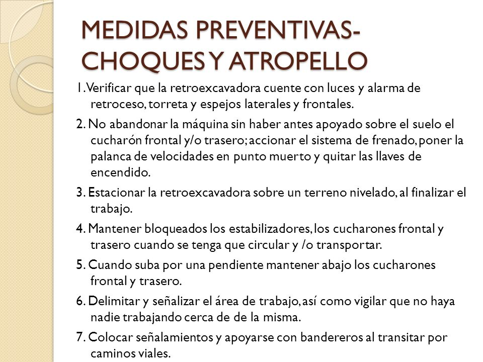 MEDIDAS PREVENTIVAS- CHOQUES Y ATROPELLO