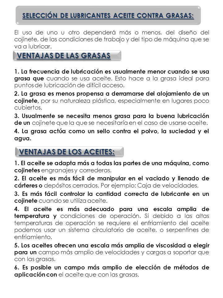 SELECCIÓN DE LUBRICANTES ACEITE CONTRA GRASAS: