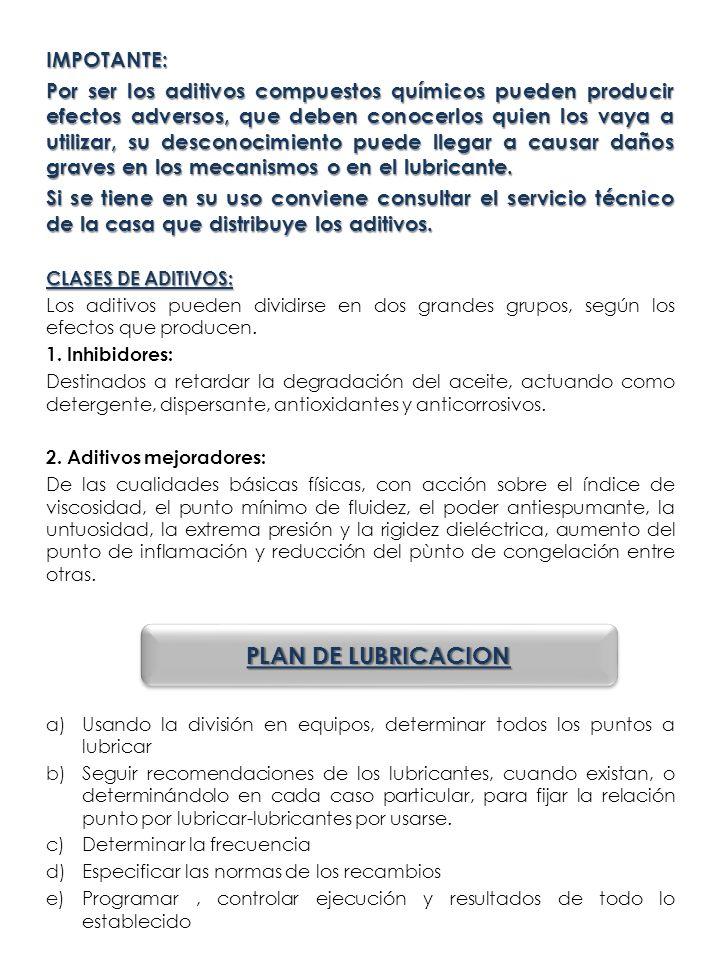 PLAN DE LUBRICACION IMPOTANTE: