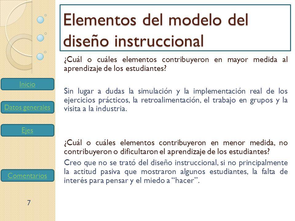 Elementos del modelo del diseño instruccional