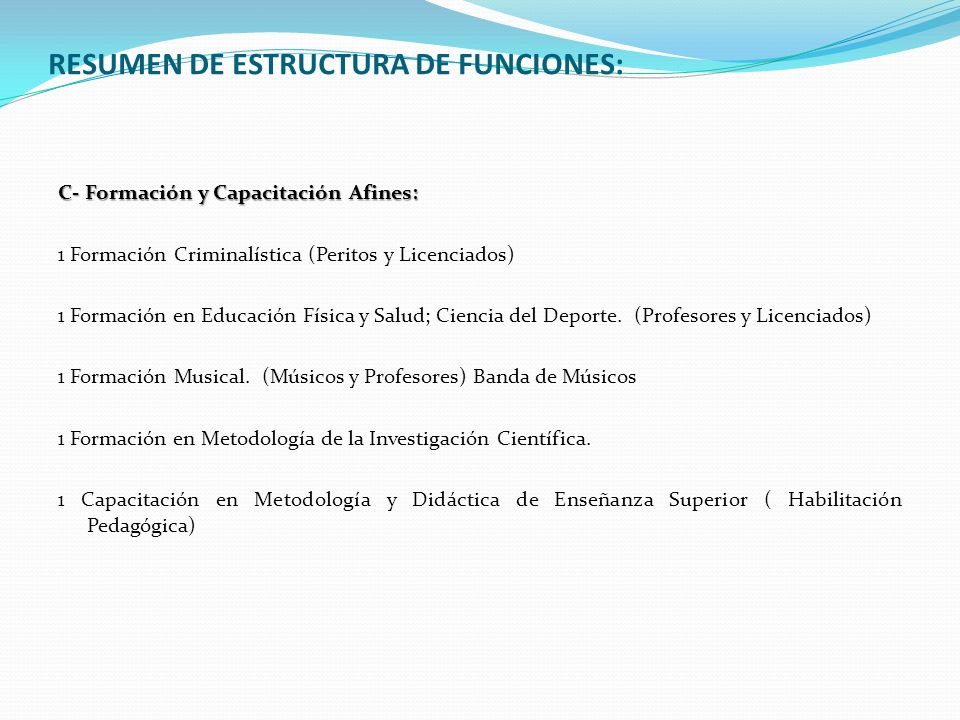 RESUMEN DE ESTRUCTURA DE FUNCIONES: