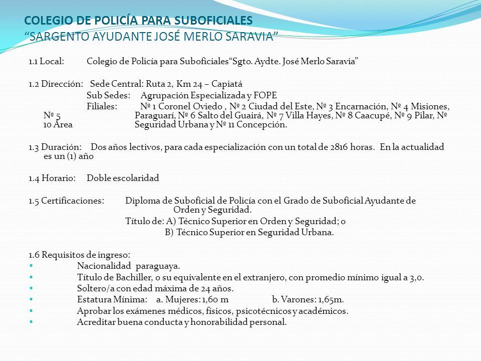 COLEGIO DE POLICÍA PARA SUBOFICIALES SARGENTO AYUDANTE JOSÉ MERLO SARAVIA