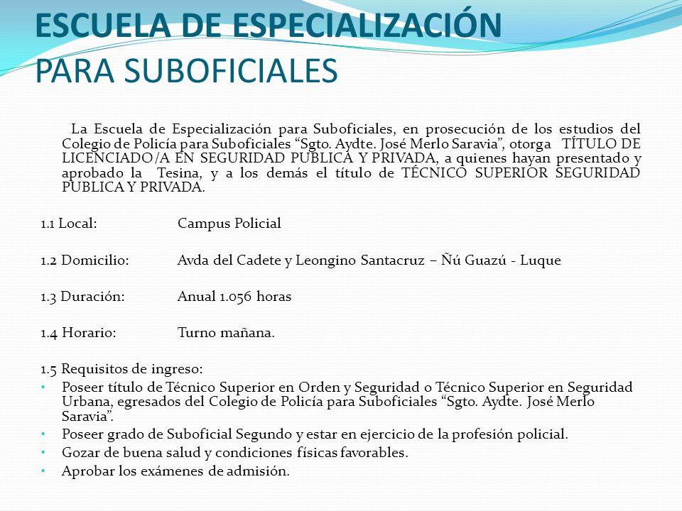 ESCUELA DE ESPECIALIZACIÓN PARA SUBOFICIALES