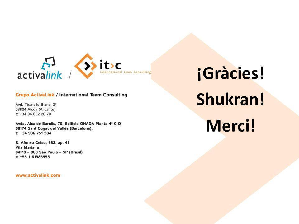 ¡Gràcies! Shukran! Merci!