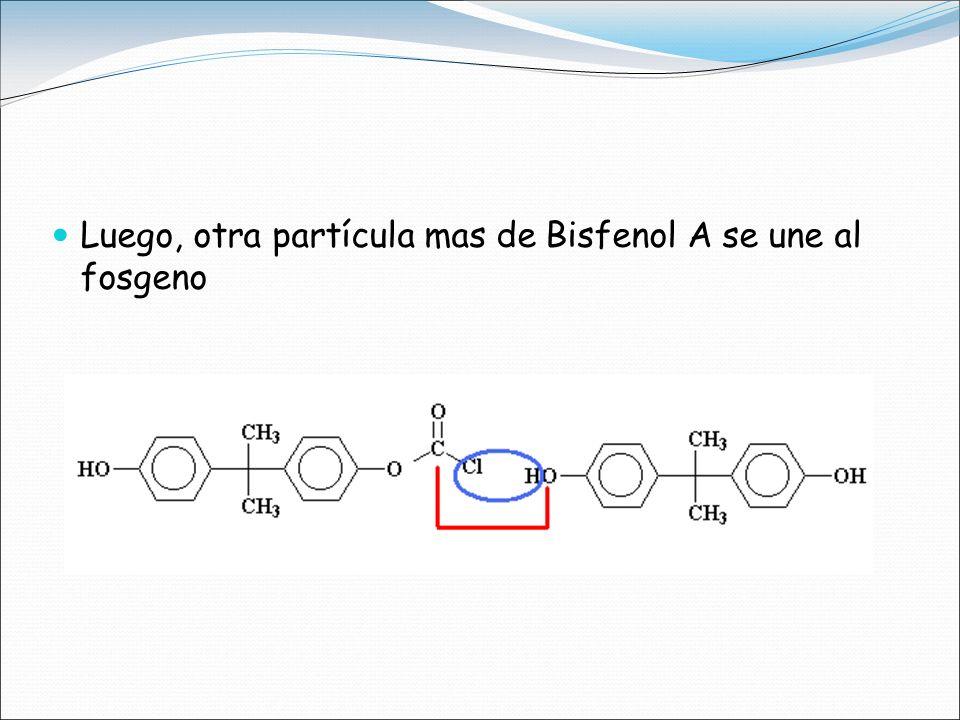 Luego, otra partícula mas de Bisfenol A se une al fosgeno