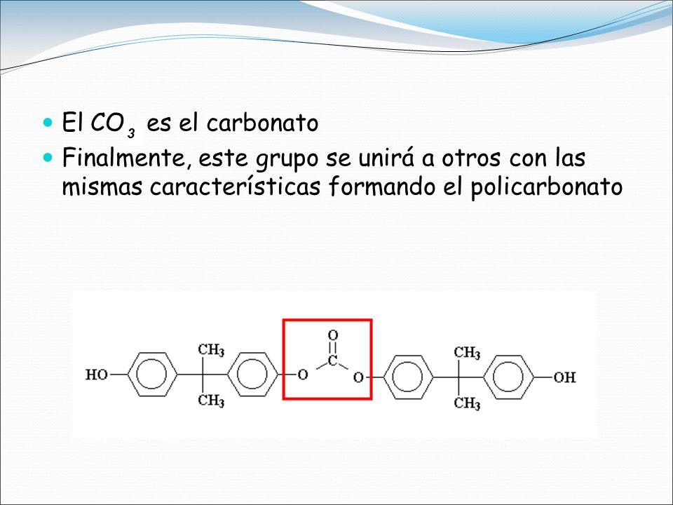 El CO es el carbonato Finalmente, este grupo se unirá a otros con las mismas características formando el policarbonato.