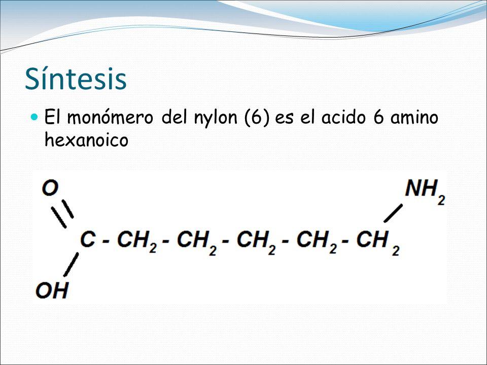 Síntesis El monómero del nylon (6) es el acido 6 amino hexanoico