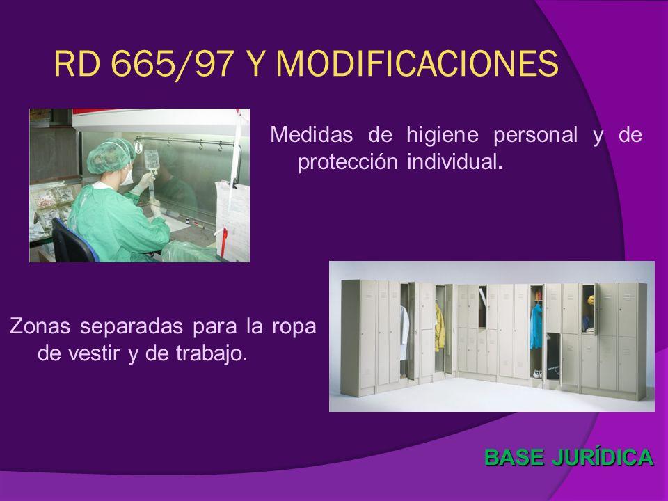 RD 665/97 Y MODIFICACIONES Medidas de higiene personal y de protección individual. Zonas separadas para la ropa de vestir y de trabajo.