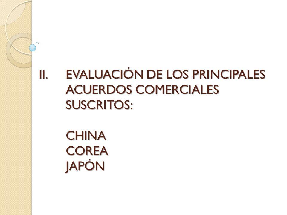 EVALUACIÓN DE LOS PRINCIPALES ACUERDOS COMERCIALES SUSCRITOS: CHINA COREA JAPÓN