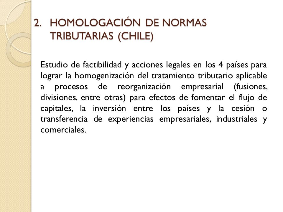 HOMOLOGACIÓN DE NORMAS TRIBUTARIAS (CHILE)