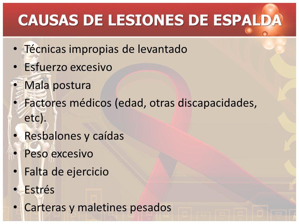 CAUSAS DE LESIONES DE ESPALDA