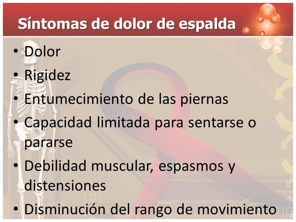Síntomas de dolor de espalda