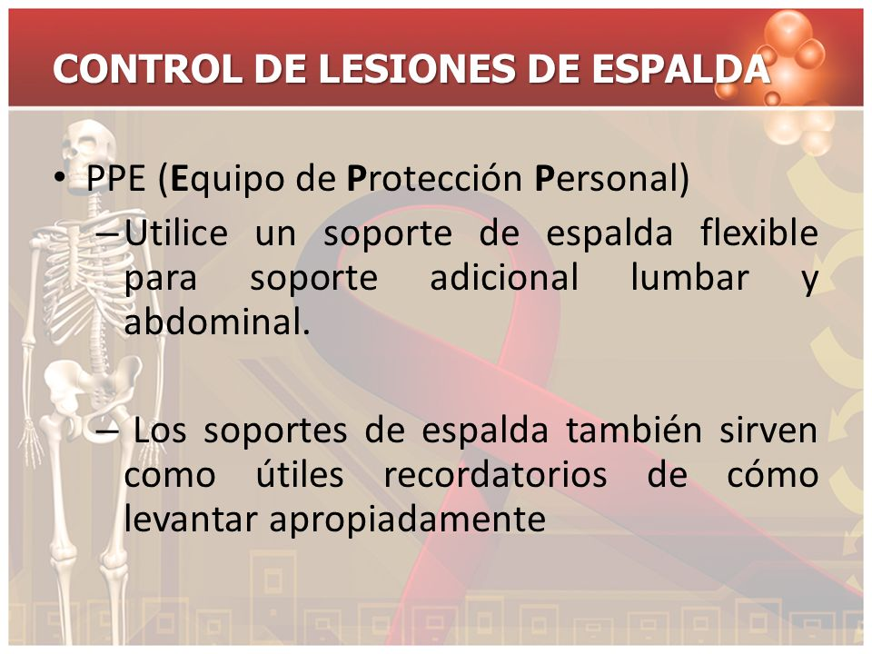 CONTROL DE LESIONES DE ESPALDA