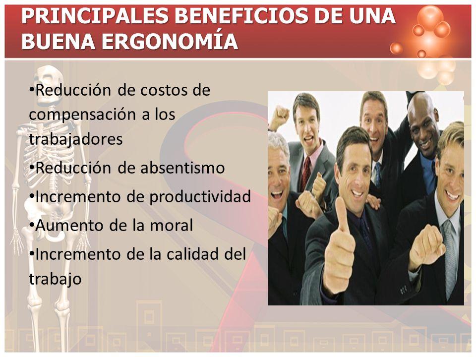 PRINCIPALES BENEFICIOS DE UNA BUENA ERGONOMÍA