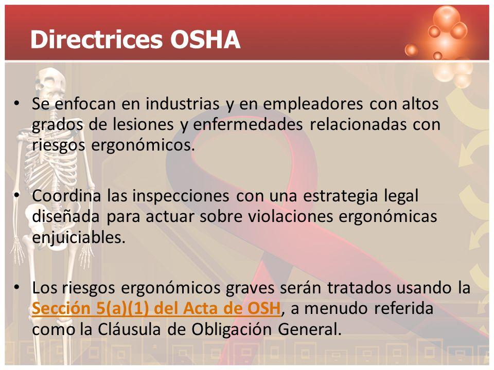 Directrices OSHA Se enfocan en industrias y en empleadores con altos grados de lesiones y enfermedades relacionadas con riesgos ergonómicos.