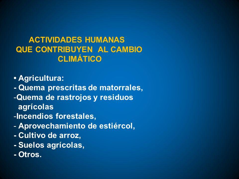 ACTIVIDADES HUMANAS QUE CONTRIBUYEN AL CAMBIO. CLIMÁTICO. • Agricultura: - Quema prescritas de matorrales,