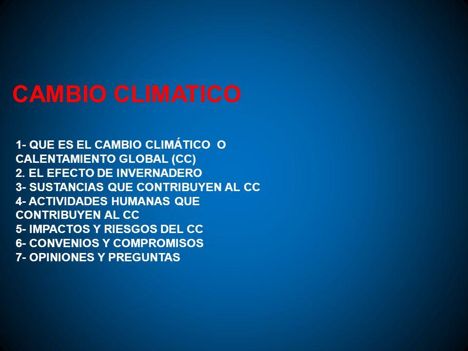 CAMBIO CLIMATICO 1- QUE ES EL CAMBIO CLIMÁTICO O CALENTAMIENTO GLOBAL (CC) 2. EL EFECTO DE INVERNADERO.