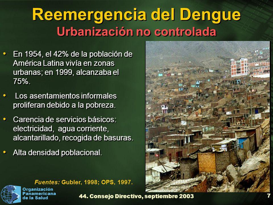 Reemergencia del Dengue Urbanización no controlada