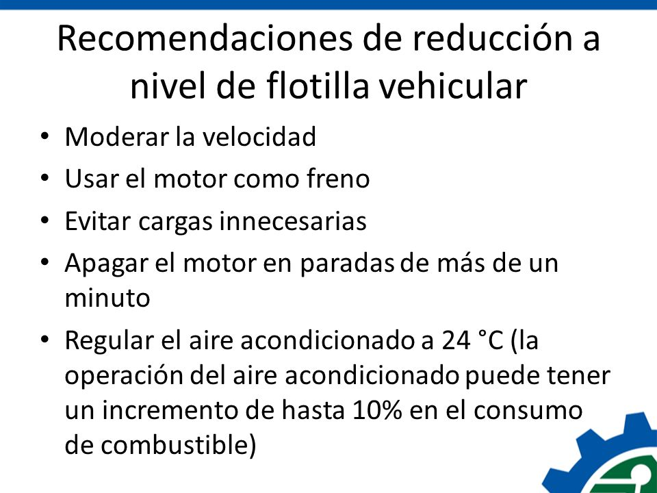 Recomendaciones de reducción a nivel de flotilla vehicular