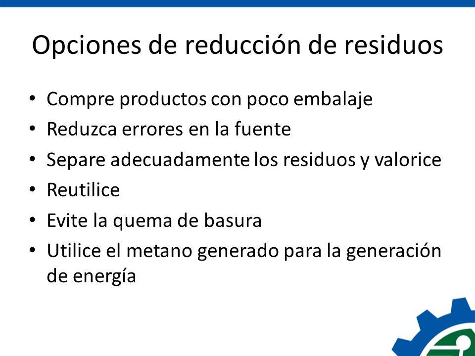 Opciones de reducción de residuos