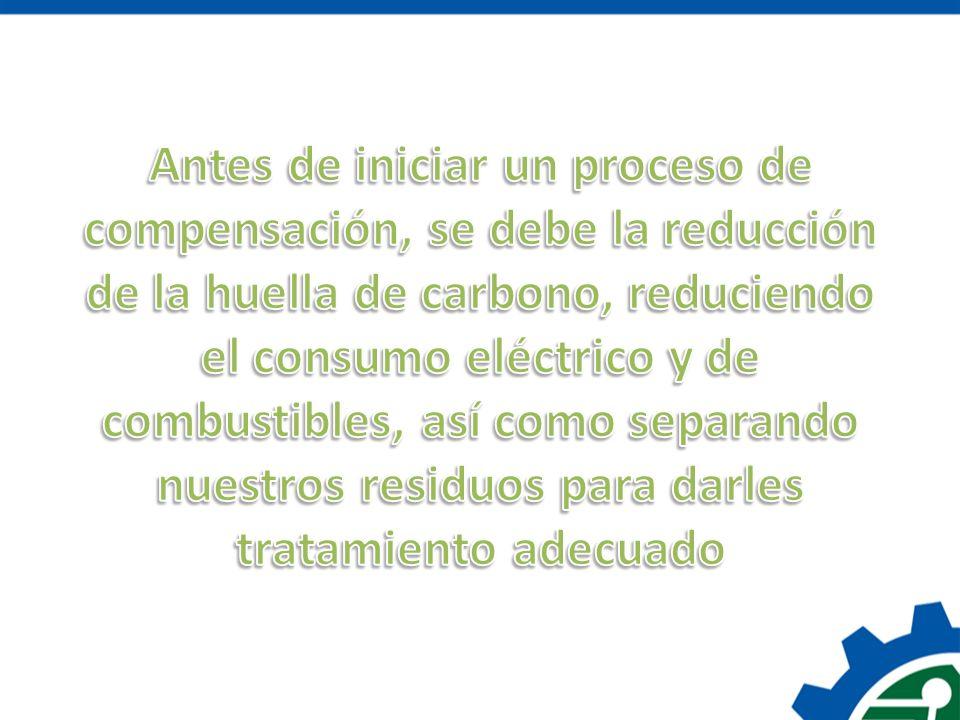 Antes de iniciar un proceso de compensación, se debe la reducción de la huella de carbono, reduciendo el consumo eléctrico y de combustibles, así como separando nuestros residuos para darles tratamiento adecuado