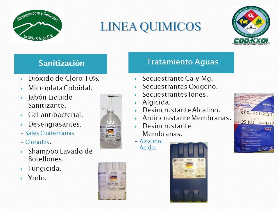 LINEA QUIMICOS Tratamiento Aguas Sanitización Dióxido de Cloro 10%.
