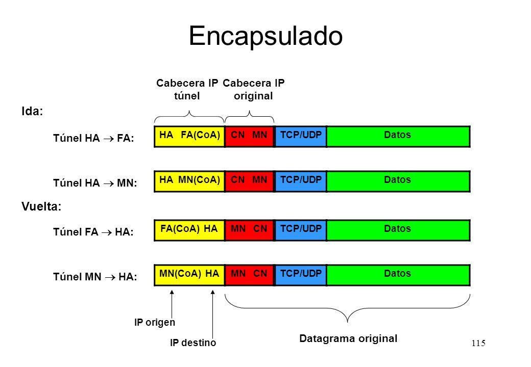 Encapsulado Ida: Vuelta: Cabecera IP túnel Cabecera IP original