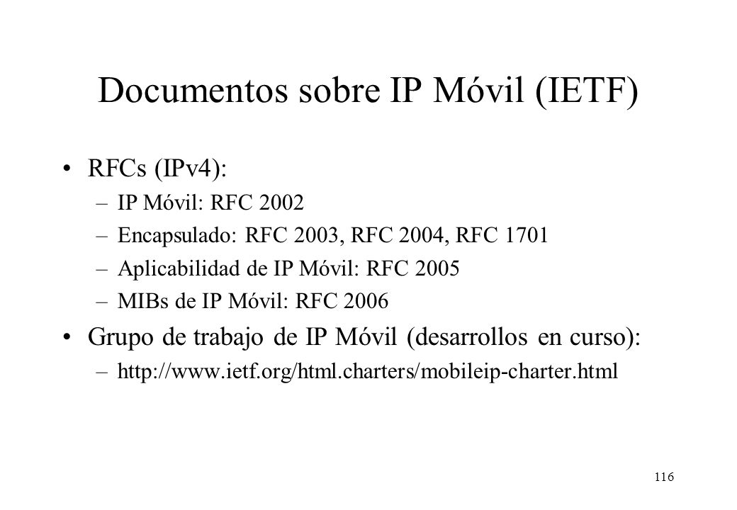 Documentos sobre IP Móvil (IETF)